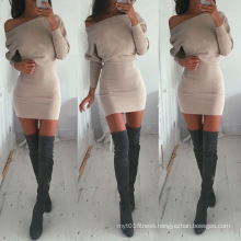 Autumn New Design Long Sleeve off Shoulder Ladies Western Dress Designs