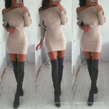 Осень Новый дизайн с длинным рукавом от плеча дамы западные платья дизайн