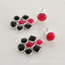 Großhandelslieferant für handgemachten halb kostbaren silbernen Edelstein-Ohrring