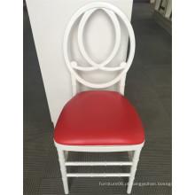 Cadeira de resina de plástico branco Phoenix com almofada de assento vermelho
