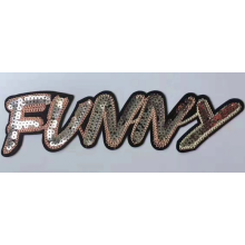 Factory Free sample for Applique Sequin Patches golden color funny letters sequin badge supply to Germany Wholesale