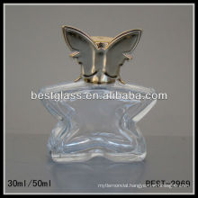 30/50ml perfume bottle, butterfly shape glass perfume bottles, perfume bottle with shiny silver cap