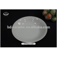 white round ceramic plate for daily use,hot sale durable white porcelain dinner plate narrow rim for hotel and restaurant