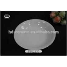 Placa de cerâmica branca redonda para uso diário, venda quente durável placa de jantar de porcelana branca estreita borda para hotel e restaurante