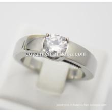 Vente en gros anneau de doigt en acier inoxydable 316L en acier inoxydable avec anneaux de mariage en pierre de cristal
