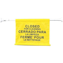 """Commercial Extend-to-Fit """"Closed For Cleaning"""" Hanging Doorway Safety Sign, Yellow"""