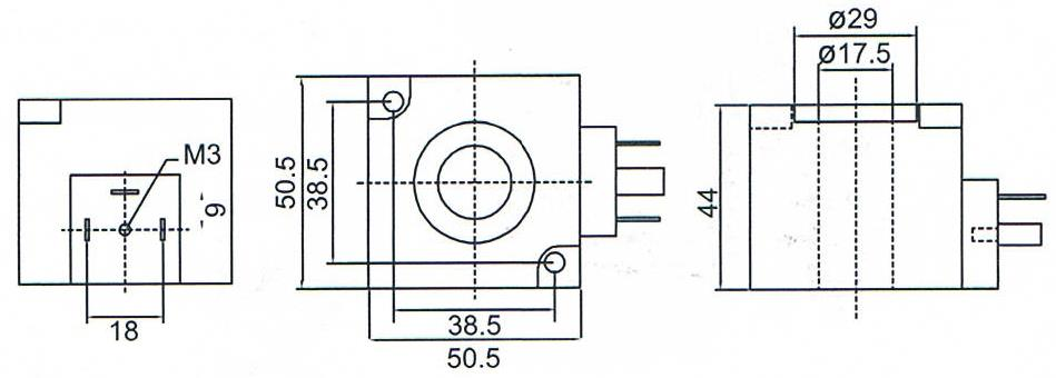 Overall dimension of DC24V / AC220V K23D-3 Electromagnetic Coils
