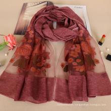 Nueva llegada agradable bordado rosa diseño floral moda dama de algodón bufanda al por mayor
