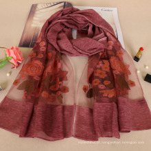Nova chegada agradável bordados subiu design floral moda algodão senhora lenço atacado
