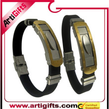 Hot sale stainless steel rubber anion mens bracelet and bangle