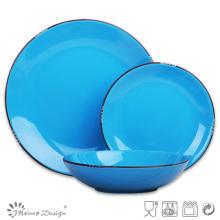 18PCS Dinner Set Solid Glaze bleu avec jante