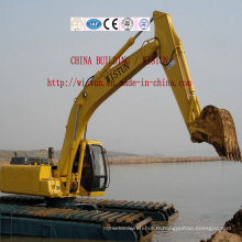 Excavatrice d'excavatrice d'excavatrice de dragage de terre et d'eau avec le ponton