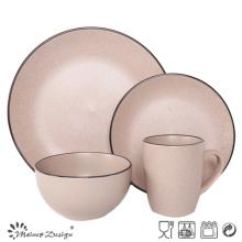 16PCS Céramique Dîner Set Seesame Glaze avec jante noire
