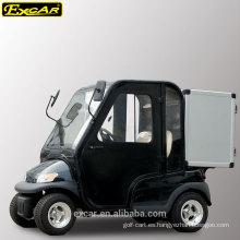 Carro de golf eléctrico de 2 plazas con puertas de cabina y caja de almacenamiento de aluminio