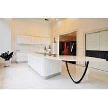 Amazing High Gloss White Curved Bench Top Kitchen Cabinets