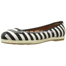 Lovely cartoon casual shoe striped canvas espadrille shoe jute sole