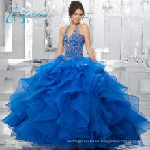 Dos piezas de lentejuelas Beading Ball Gowns Blue Puffy Quinceanera Vestidos