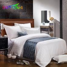 Hotel bedding/100% Pakistan cotton white sateen hotel living bedding/strip hotel bedding