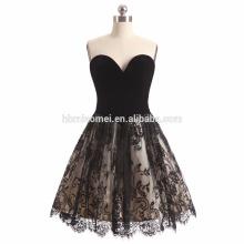 2017 nuevo vestido de boda negro del estilo del cortocircuito del color de la moda del diamante del hombro que adorna el vestido nupcial de la boda