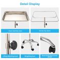 High Quality 304L Stainless Steel Salon Working Table Tray Adjustable Detachable Movable Rolling Tattoo Tray Work Station Stand