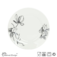 White Porcelain with Decal Flower Dessert Plate