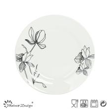 Porcelaine blanche avec plaque de dessert fleur Decal