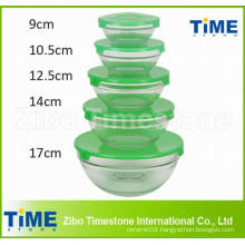 5PCS Glass Mixing Fruit Bowl Set with Lid