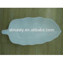 Plaque d'hôtel en forme de feuille de haute qualité porcelaine blanche