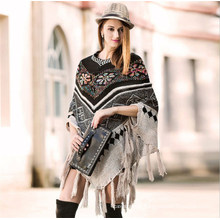2018 Women′s Knitted Tassels Poncho Pullover Fashion American Style