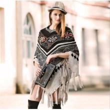 Женщины 2018г трикотажные кистями пончо пуловер мода американский Стиль