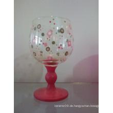 Glas Handgemalter Kerzenständer (TS015-02)