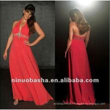 Floor Length Watermellon Formal Halter Evening Dress 2012