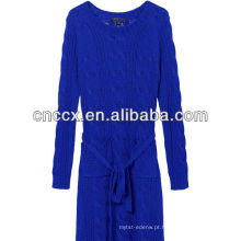 12STC0722 cabo de malha vestido longo azul royal camisola