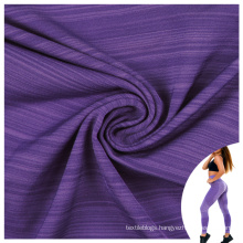 high elastic stripe yarn dyed yoga spandex blend polyester dry fit fabric for sports