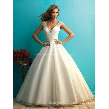 2016 Платье Империя V-Линии Cap Рукавом Бисероплетение Свадебное Платье