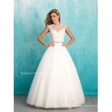 Jewel cuello Tulle nupcial vestido de bola vestido de boda de manga de manga