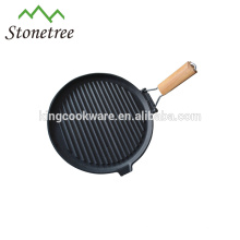 cast iron fry pan/grill pan with removable handle