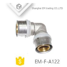 EM-F-A122 Cobre igual cotovelo macho niquelado encaixe de compressão