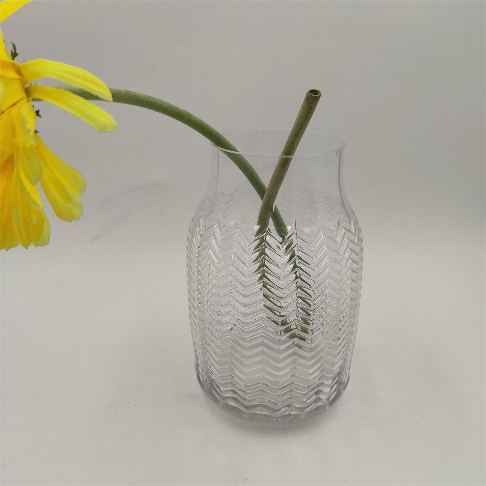 Br V 1018embossed Pattern Crystal Glass Vase 2