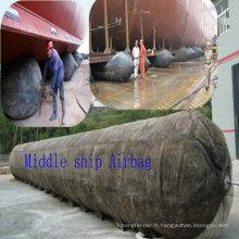 Airbag de navire marin utilisant l'outil de navire de lancement de bateau et de réparation de terre