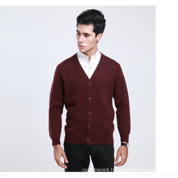 Yak Wool/Cashmere V Neck Cardigan Long Sleeve Sweater/Clothes/Garment/Knitwear