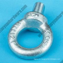 Perno de ojo galvanizado y tuerca de acero forjado DIN580