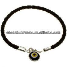 China Lieferant schwarze Leder Halskette mit Kreis Anhänger, Mode Halskette 2014