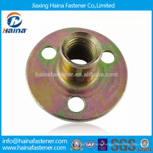 Zinc plated round base T nut with three brad hole tee nut