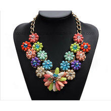 2016 Neon Rhinestone Jewelry Necklace Beaded Necklace Glass Woman Jewelry Necklace (TP-204)