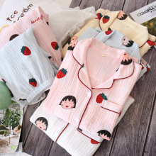 cotton women sleepwear top and pants print home clothes