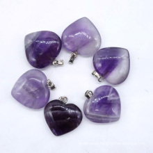 Loose gemstone for wholesale amethyst smooth heart crystal pendant