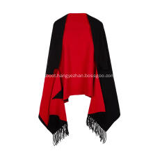 Women's Knitted Stretchable Jacquard Tassel Poncho Cape