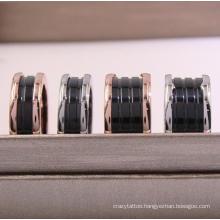 Black White Ceramic Ring Rose Gold Titanium Steel Spring Wide Narrow Ring Couple Stainless Steel Tail Ring