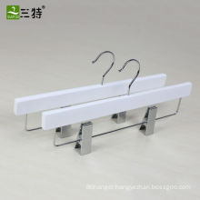 14 inch anti-yellow finish white firm wooden trouser hangers